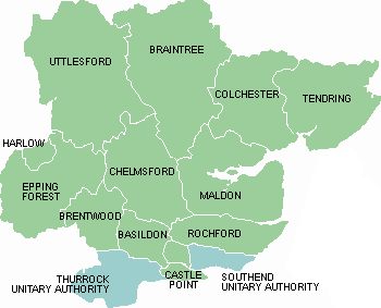 Map of Essex showing district/boroughs